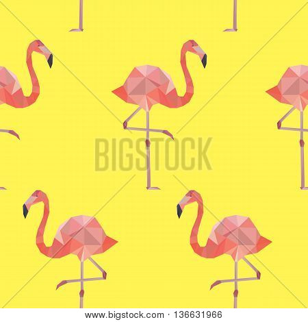 Vector seamless pattern background with pink flamingo.