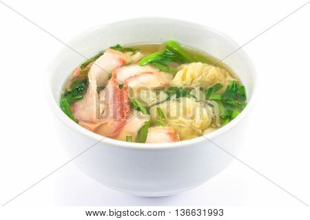 wonton soup in a bowl isolated on white background