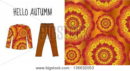 Sweater jacket and jeans pants with autumn print. Autumn things. Sweater jeans autumn clothes. Fashion autumn. Seamless pattern. Vector illustration.