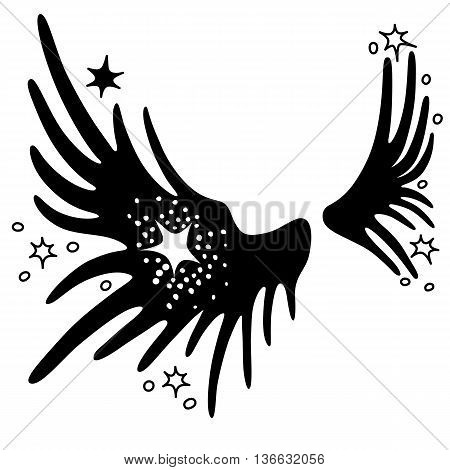 Wings set linear silhouette isolated on white background vector illustration