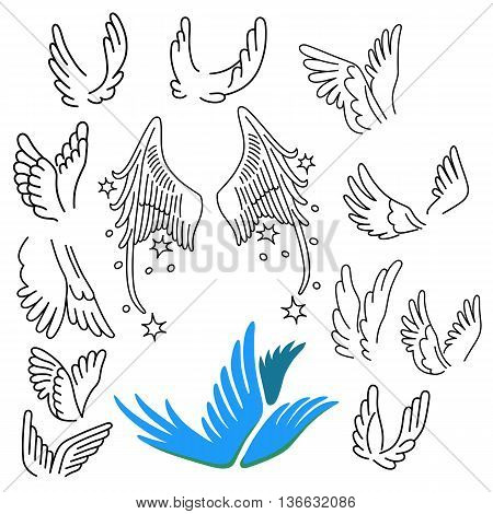 Wings set linear silhouette isolated on background vector illustration