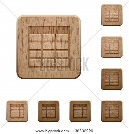Set of carved wooden Spreadsheet table buttons in 8 variations.