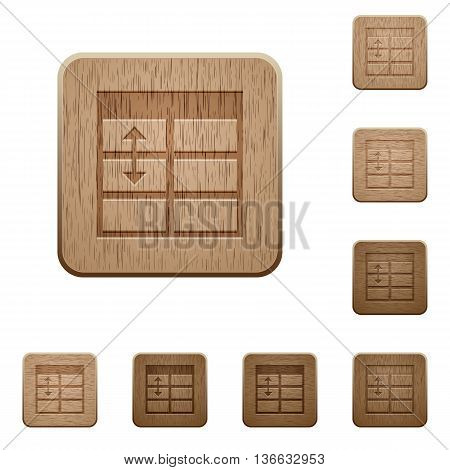 Set of carved wooden Spreadsheet adjust table row height buttons in 8 variations.