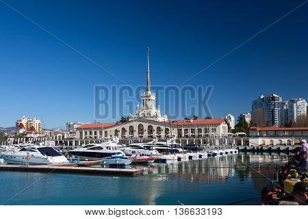 Sochi, Russia - February 9, 2016: Marine station - complex Port of in central region of sity, Krasnodar Krai