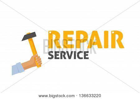 Repair service shop logo vector illustration, maintenance center emblem, repairman hand holding hammer symbol, renovation business sticker, flat banner modern sign design isolated on white background