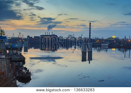 Kiev. Sunset. Industrial Area
