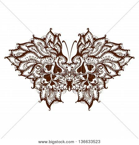 Elements painted butterfly with henna isolated on white