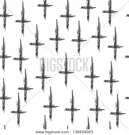 Minimalist pattern with the cross geometric shapes. Modern background. Hipster style texture. Gothic style fabric pattern. Vector illustration