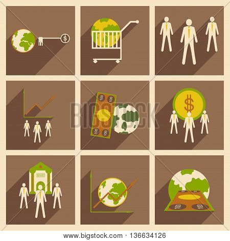 Modern flat icons vector collection with shadow money economy workers