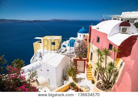 Oia village at suny day on Santorini island, Greece