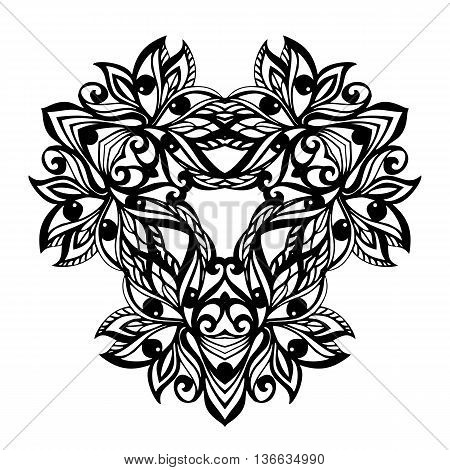 Black Floral element isolated on white background