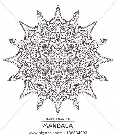 Vector mandala for coloring with ethnic decorative elements. Patterned Design Element Coloring book. illustration.