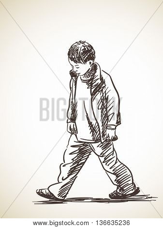 Sketch of sad boy walking, Hand drawn illustration