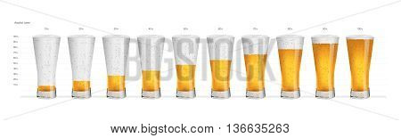 Alcohol levels in drinking glasses  Vector illustration - Alcohol levels in drinking glasses. Created with adobe illustrator.