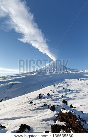 Beautiful winter volcanic landscape of Kamchatka Peninsula: view of eruption active Klyuchevskoy Volcano in clear weather sunny day. Eurasia Russia Far East Kamchatka Region Klyuchevskaya Group of Volcanoes.