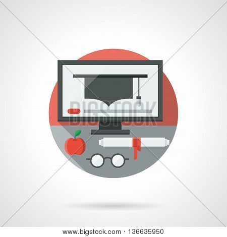 Graduation cap on a computer monitor. E-learning technology, distance education concept. Internet services for acquiring a higher education. Round flat color style vector icon. Web design element