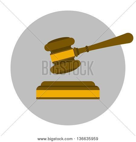 Wooden judge gavel flat icon. Justice symbol