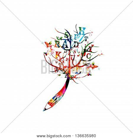 Creative writing concept with pencil and treetop