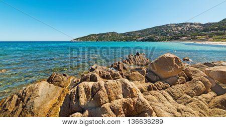 rocks in Cala Battistoni beach in Costa Smeralda Italy