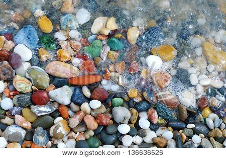 Multicolored sea pebbles and shells in the wave on the shore for background.