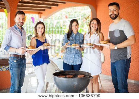 Groupe Of People At A Barbecue