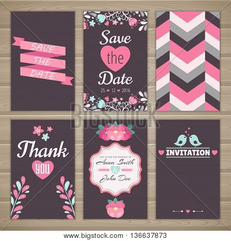 Set of wedding romantic cards. Vector collection of six romantic cards. Wedding invitation thank you card save the date.