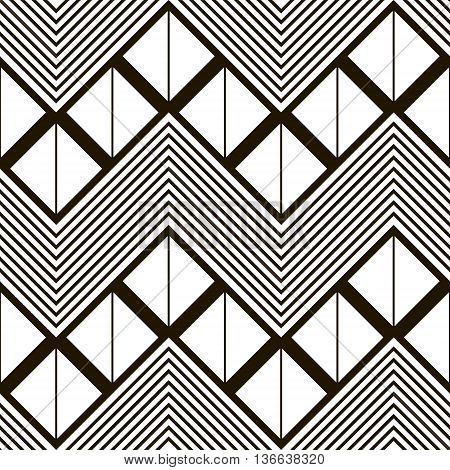 Seamless geometric black and white pattern of horizontal zig zag. Squares divided into two triangles inside giant zigzag and chevron lines. Vector illustration for stylish creative design