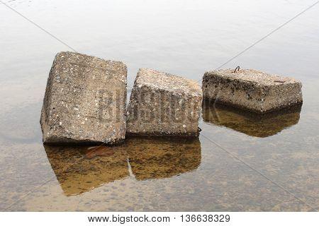 Large granite stones in the water