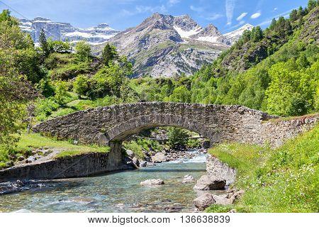 Nadau bridge over Gave de Gavarnie river in Gavarnie Hautes-Pyrenees France