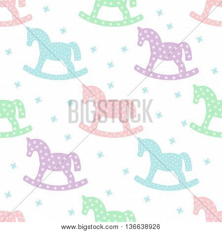 Seamless pattern with rocking horses. Cute baby shower background. Pastel colors child play illustration.