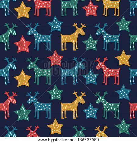 Xmas vector illustration. Colorful seamless Christmas pattern - reindeer and stars. Vector design for winter holidays on dark blue background. Child drawing style scandinavian concept card.