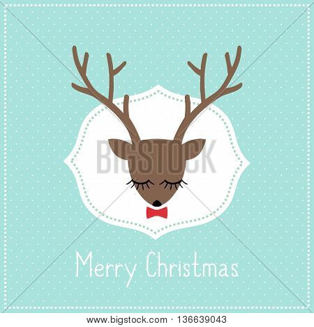 Merry Christmas card with cute deer with bow. Deer head illustration on light blue polka dots background.