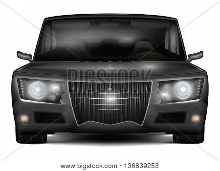 The dark sedan car in retro style isolated on white background. Realistic detailed front view. Vector illustration.