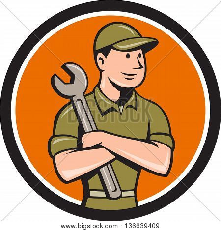 Illustration of a mechanic worker wearing hat arms crossed holding spanner looking to the side viewed from front set inside circle on isolated background done in cartoon style.