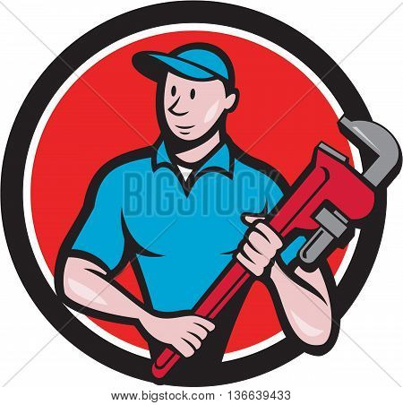 Illustration of a plumber in overalls and hat standing looking to the side holding monkey wrench viewed from front set inside circle on isolated background done in cartoon style.