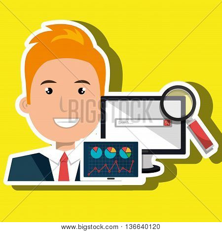 businessperson with statistic graph isolated icon design, vector illustration  graphic