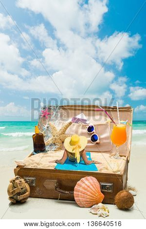 Young woman in bikini in a suitcase - Travel concept