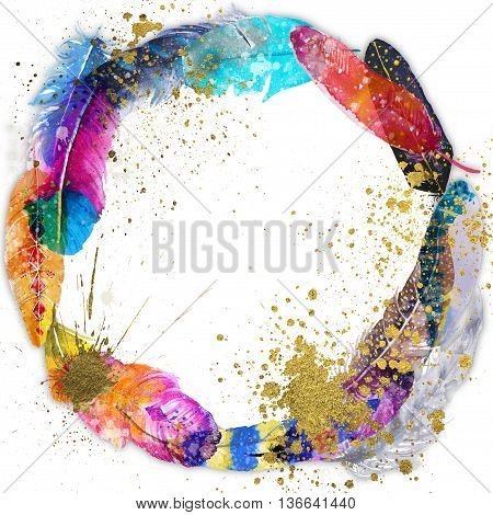 circle vibrant frame with watercolor boho feathers