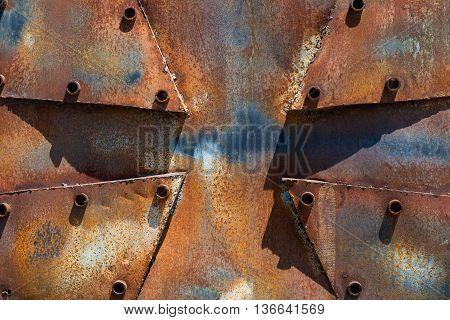 Rusty metal cross background construction grunge object
