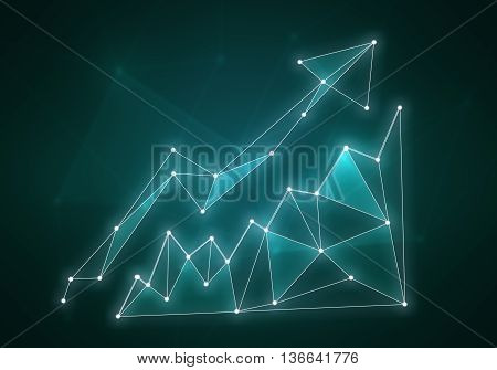 Minimalistic color styled growing graph on dark background