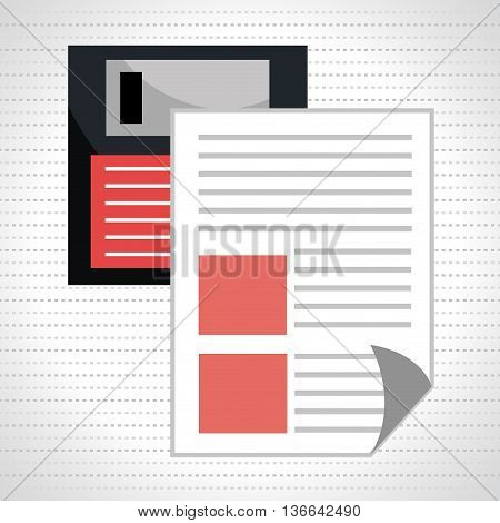 floppy disk with document isolated icon design, vector illustration  graphic