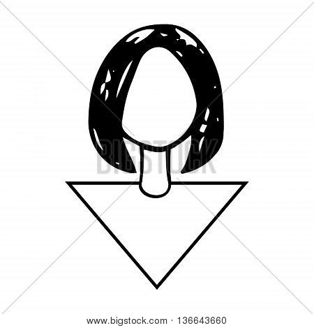 Graphic image of a girls head of black lines.
