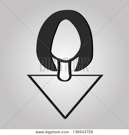 Graphic image of a girls head, vector
