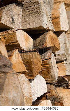 Neatly arranged stockpile of wood for winter
