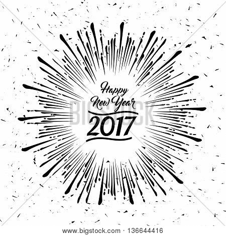 Happy New Year radiating grungy starburst design on white background with an effect of dust and scratches