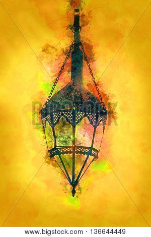Painting - Old Style Islamic / Arabic Lamp - Ramadan / Eid Celebration