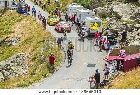 Col de la Croix de Fer France - 25 July 2015: PorteFroome Nibali and Contador at Col de la Croix de Fer in Alps during the stage 20 of Le Tour de France 2015.