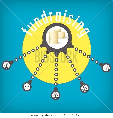 Vector circular object with theme of fund raising
