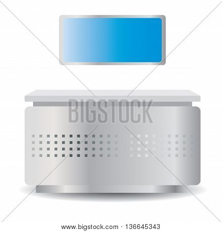 The reception desk or kiosk with a computer LCD monitor for a hotel, hospital, airport. Vector desk or counter 3D front view.  Interactive Information Kiosk Stall isolated on white background