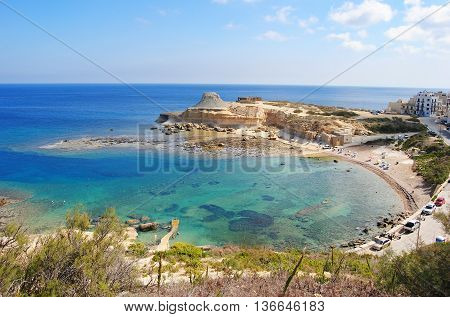 Xwieni Bay near Marsalforn on Gozo island in Malta.